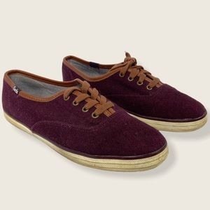 Keds Wine Champion Wool Sneakers Low Top Size 6